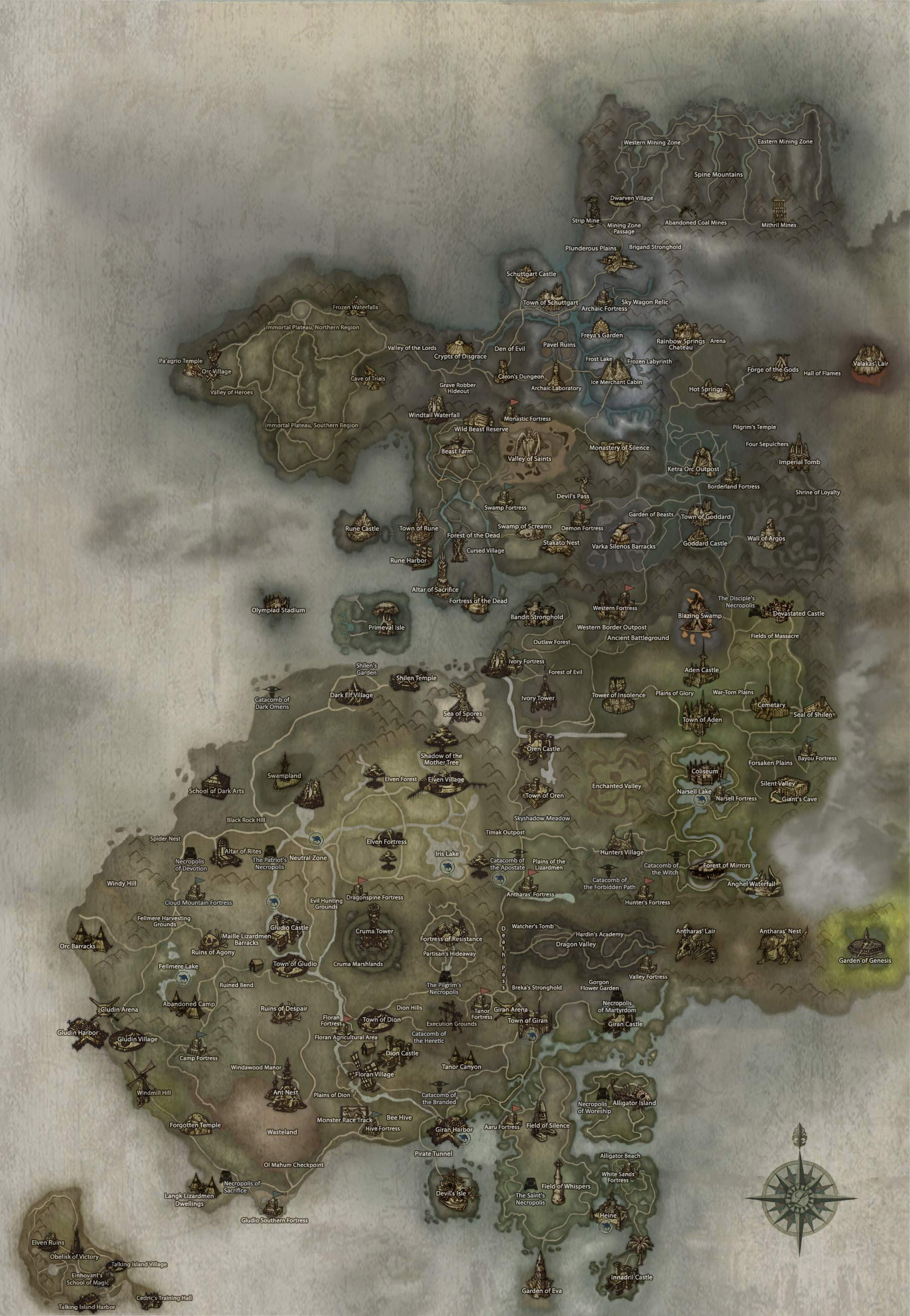 Lineage 2 map. Lineage 2 Raid Boss map