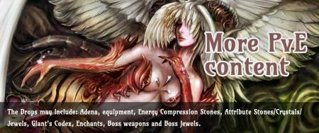 Adena, equipment, Energy Compression Stones, Attribute Stones/Crystals/Jewels, Giant's Codex, Enchants, Boss weapons and Boss jewels